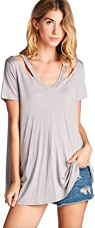 Women's Short Sleeve Loose Fit V Neck Tunic with Cut Out Shoulders