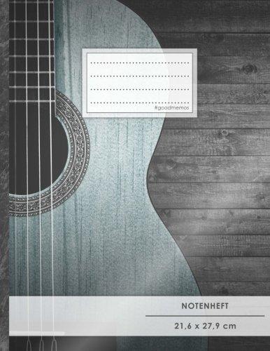 """Notenheft: DIN A4 • 48 Seiten, 24 Blatt, 12 Systeme, """"Akustik Gitarre"""" • Original #GoodMemos Schulheft • Mit Inhaltsverzeichnis und Seitenzahlen, Noten-Lineatur 14"""
