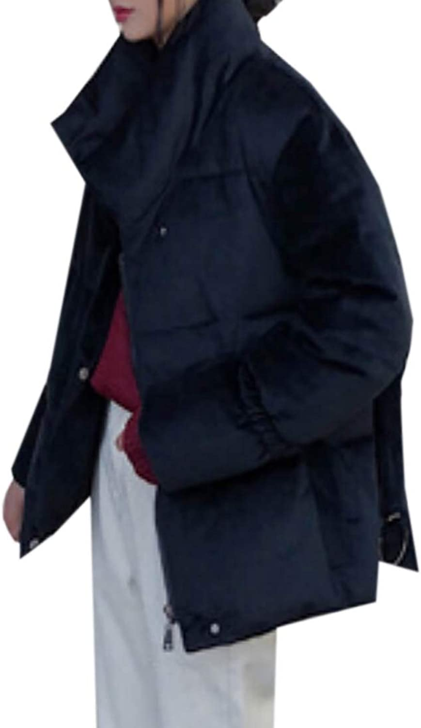 Maweisong Women's Thick Down Jacket Packable Down Coat Stand Collar Overcoat Jacket