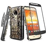 NZND Case for Moto E5 Play, Moto E5 Go/Moto E5 Cruise with Tempered Glass Screen Protector, Belt Clip Holster Heavy Duty Shockproof Kickstand Combo Rugged Case for Motorola Moto E Play 5th Gen -Camo