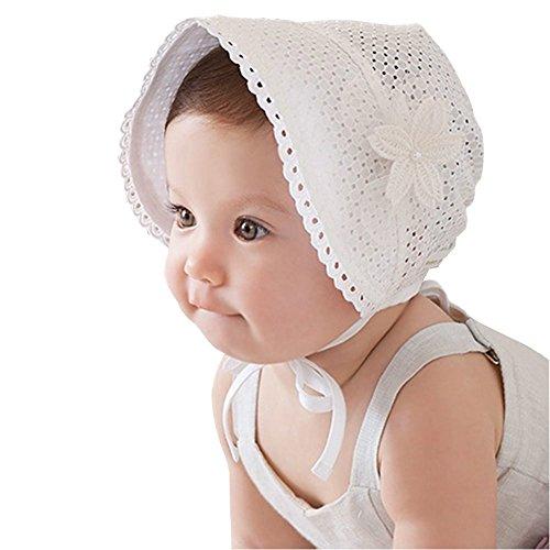 EROSPA® Süßes Baby Mützchen für Mädchen Spitze Häubchen Blume Spitze Sonne Prinzessin weiß