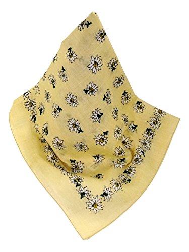 Beiges Nickituch im Edelweißdesign | Bandana aus 100% Baumwolle | 53 x 53 cm | Halstuch | Teichmann