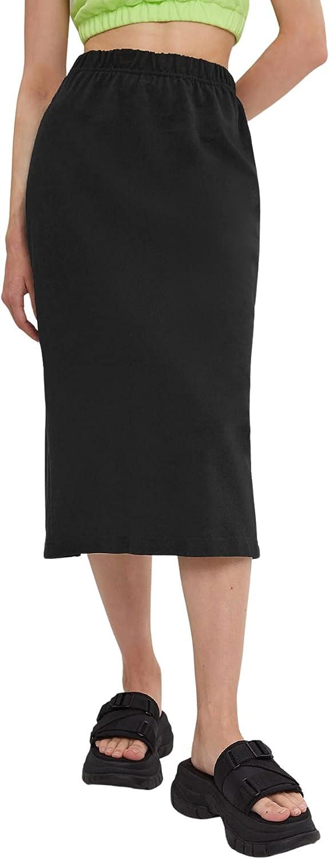 Milumia Women Elastic High Waisted Slit Back Midi Skirt Solid Straight Pencil Skirt