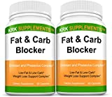 2 Bottles Fat and Carb Blocker with Phaseolus Vulgaris (White Kidney Bean Extract) Chitosan Extreme Diet Pills Weight Loss 180 Total Capsules KRK Supplements