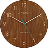 LAiMER Orologio da parete in legno di noce con secondi silenziosi, diametro 30 cm, movimento al quarzo, batteria inclusa, facile da leggere - per cucina, soggiorno, camera da letto