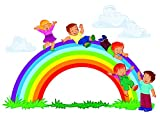 Rainbow Fun Kids Playing Playground Boys School Preschool Daycare Colorful Wall Decals - Boys Room Kids Decor Sticker Room Decoration for Bedrooms - Stickers Sticker Boy Designs Size 16x20 inch