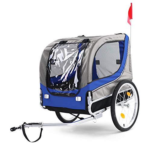 RAMROXX 39577 Fahrradanhänger Hundeanhänger klappbar für Haustiere Blau Grau bis 40Kg