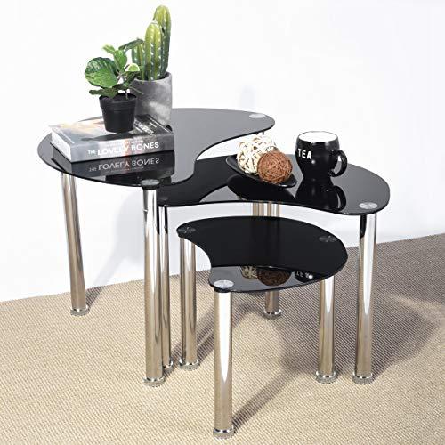 Aingoo Glass Nesting Coffee Table Small Sofa Table Set of 3 Modern Tear Shape Silver Steel Leg Black 19x26in LW Moontear