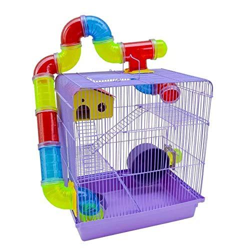 Gaiola 3 Andares para Hamster com Tubo Labirintos Coloridos Cor Lilás