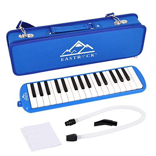 EastRock 32 Key Melodica Instrument Keyboard Soprano Piano style with Mouthpiece Tube Sets and Carrying Bag for Kids Beginners Adults Gift Blue