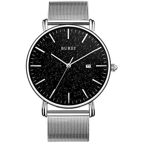 BUREI Herren Uhr Ultra Thin Minimalist Quarz Armbanduhr Schwarzes Sternenzifferblatt Datumsanzeige mit silbernem Edelstahlband