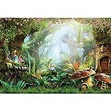 Haoyiyi 10x8ft Spring Cartoon Fairy Tale Mushroom Enchanted Jungle Forest Garden Castle Dreamy Backdrop Backgrpund Photography Kids Children Newborn Birthday Baby Shower Wedding Cake Table Wallpaper