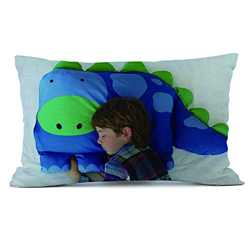 HUHU833 Cushion Cover, 50*30cm Kids Animal Pillowcase Boys Dylan The Dinosaur Pet Pillow Sham For Children (Linen cotton)