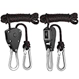 Floro Rope Clip Grow Light Hangers, Easy Way to Raise and Lower Fixtures, 8ft Heavy-Duty Braided Rope Holds up to 150 lbs, Pulley System for Hanging Lights in Art Gallery, Hydroponic System