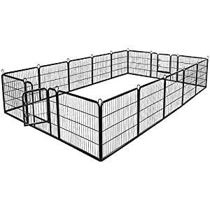 BestPet Dog Pen Extra Large Indoor Outdoor Dog Fence Playpen Heavy Duty 16 Panels 32 Inches Exercise Pen Dog Crate Cage Kennel Black