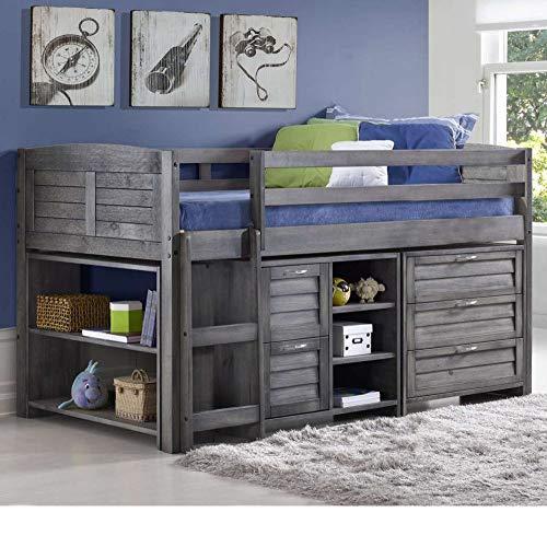 Happy Beds Mid Sleeper, Cosy Grey Wood Sleep Station