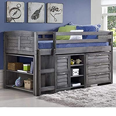Happy Beds Mid Sleeper, Cosy Grey Wood Sleep Station