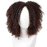 Marron afro rizado sintetico de pelucas para mujeres Ombre corto...