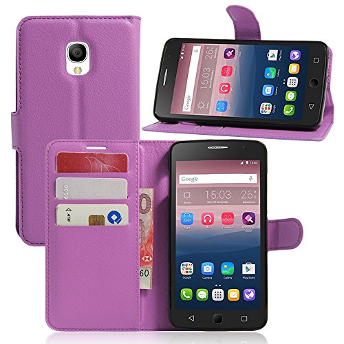 Tasche für Alcatel OneTouch Pop Star 3G Hülle, Ycloud PU Ledertasche Flip Cover Wallet Case Handyhülle mit Stand Function Credit Card Slots Bookstyle Purse Design lila