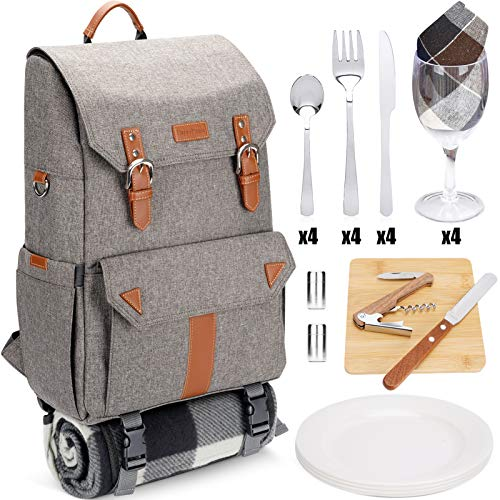 HappyPicnic Insulated Picnic Backpack for 4 Persons with Full Set of Tablewares Roomy Cooler Compartment Bottle Holders and Large Waterproof Picnic Rug