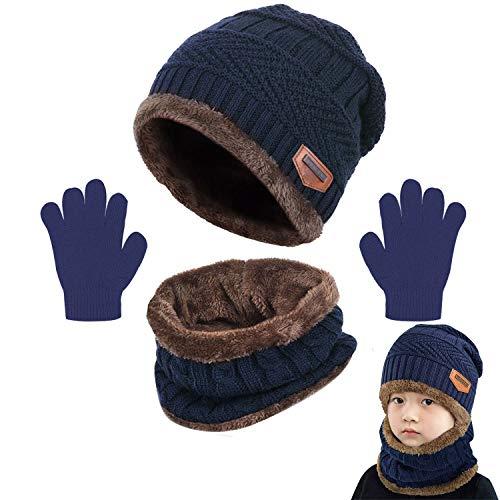 CheChury Kinder Wintermütze Winterschal Handschuhe Beanie Kinder Strickmütze Beanie Mütze mit Schal für Kinder mit Fleecefutter Mütze Schal Sets Schals Hüte für Kinder Mädchen Jungen Wintergeschenke