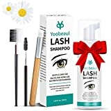 Eyelash Extention Cleanser 50ml&Eyelash Brush, Eyelid Foaming Cleanser, Clean for Extensions&Natural Lashes, No Paraben/Sulfate, Lash Shampoo, Safe Makeup&Mascara Remover, Salon&Home Use