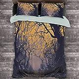 Toopeek Fantasy Art House Decor Hotel Luxury Bed Linen Otoño Haya Abedul Ramas con River Creek con Rocas Scary Art Polyester - Suave y transpirable (completo) color amarillo malva