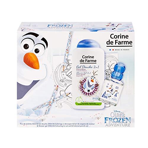 Corine De Farme | Olaf Coffret Cadeau | Disney Reine des Neiges | Parfum Enfant 50ml | Gel Douche Enfant 250ml | Coloriage Enfant | Crayons de couleurs |Fabriqué en France