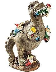 Rolig trädgård ornament staty, den stora trädgården gnome massakern, godzilla jurassic dinosaur äta dvärg, statyer väderbeständig för inomhus utomhus gräsmatta patio party halloween dekorationer