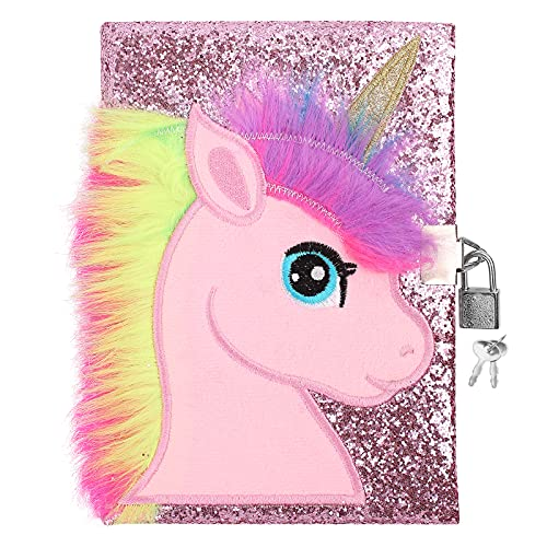Cuibilyer Unicorn Diary Magic Unicorn Notebook with Lock and Keys, Unicorn for Kids and Adults, Unique Glitter Design Secret Diary Lined Notebook 160 Pages , Birthday Party Gifts for Girls