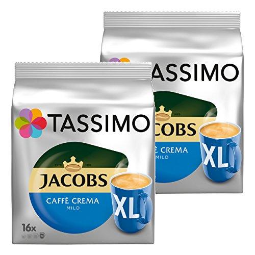 Tassimo Jacobs Caffè Crema mild XL, Kaffee Kapsel, Kaffeekapsel, gemahlener Röstkaffee, 2x16 (32) T-Discs