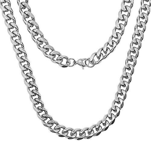 RUBY - Collar Cadena De Acero Inoxidable Para Hombre Y Mujer, 11mm / 61cm, Collares De Hip Hop Para Unisex Cadenas De Eslabon Grueso Estilo Cubana (11mm / 61cm)