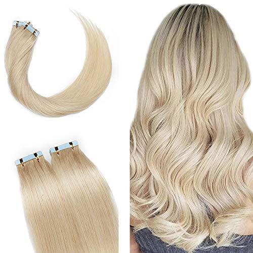 SEGO Extension Adesive Capelli Veri Tape Extensions Biadesive 100% Remy con Biadesivo 10 Ciocche Human Hair Umani Lisci 20g/Pack senza Clip (30cm, Bianco Chiarissimo)