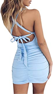 SANXIA Women's Sexy Jumpsuit Hollow Out Spaghetti Backless Sleeveless Cutout Club Ruched Bodycon Mini Dress 8121