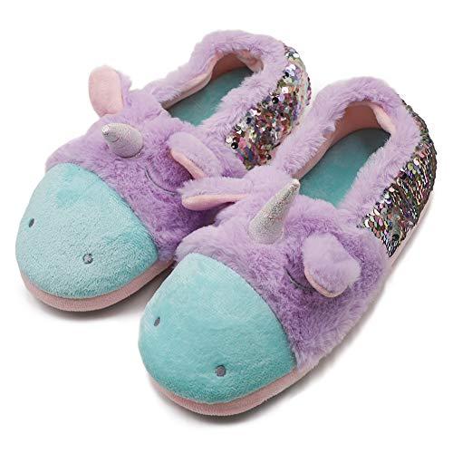 Orthoshoes niedliche Einhorn-Hausschuhe warme Stiefelsocken Plüsch Fleece Schlupfschuhe für Mädchen Kinder Weihnachten, Violett - violett - Größe: 34 EU