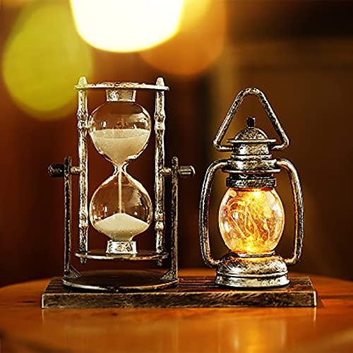 Reloj de arena 2 en 1 creativo retro reloj de arena linterna hogar oficina escritorio decoración libro sala sala sala de estar/dormitorio vintage lámpara de arena