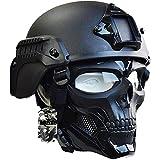 AQzxdc Casco táctico Mich 2000 Style ACH, Conjunto de máscara Completa de Calavera, con rieles...