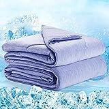 Elegear 2in1 Kühldecke Sommerdecke Kuscheldecke - Arc-Chill Duales Design Selbstkühlende Decke für Besseren Schlaf Kühlenden Decke für Erwachsene & Kinder Baumwolle Weiche Wohndecke Blau 150x200 cm