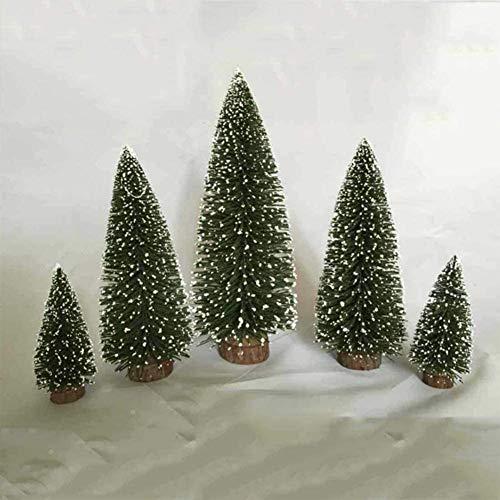 Adornos de Navidad Botella artificial Mini árbol de navidad de sisal árboles de la nieve cepillo de Navidad pinos Adornos Árboles con base de madera for la fiesta de Navidad de decoración del hogar (v
