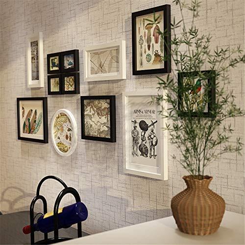 Fotokader Moderne Eenvoudige Effen Hout Fotobehang Zwart Wit Grote Multi Foto Wandset Home Office Galerij Voor Achtergrond Wanddecoraties