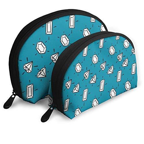 Sparkling Diamond Portable Bags Clutch Pouch Coin Purse Cosmetic Travel Storage Bag 2Pcs Handbag