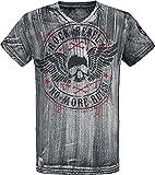 Rock Rebel by EMP Graues T-Shirt mit V-Ausschnitt und Print Hombre Camiseta Gris M