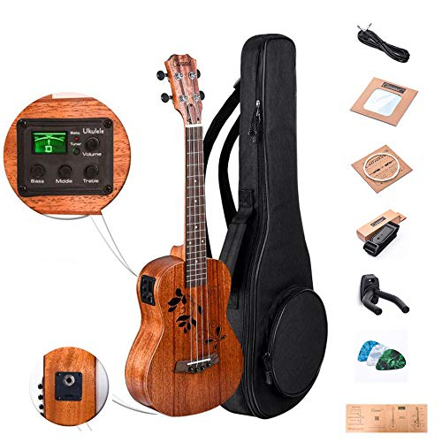 Caramel CB417 All Solid Mahogany Butterfly Style Baritone Acoustic Electric Ukulele with Truss Rod with D-G-B-E Strings & free G-C-E-A strings, Padded Gig Bag, Strap and EQ cable
