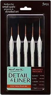 Mont Marte Detail&Liner Artist Taklon Brush Set 5 pce with Wood Handles