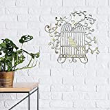 HQL Esculturas de Pared de Jaula de pájaros de Hierro - 11.8'L x 11.8' H, decoración de Pared de Silueta de Jaula de pájaros de Metal, decoración de la Pared del hogar, para Granja, Oficina, café