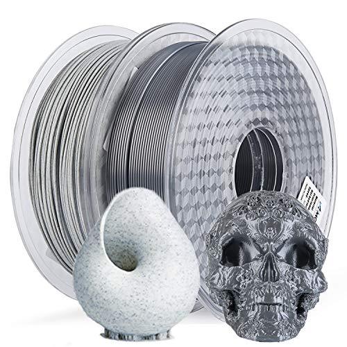 AMOLEN 3D Printer Filament, Marble PLA Filament 1.75mm and Silk Silver 3D Printing Materials Pack 2x1KG,+/-0.03mm,for 3D Printer and 3D Pen
