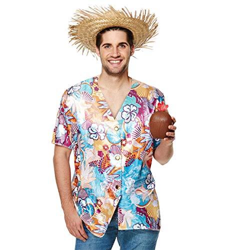 FashioN HuB Sombrero de paja para hombre con copa de coco hawaiana, para fiesta de playa, disfraz de disfraz de talla única (3 unidades)