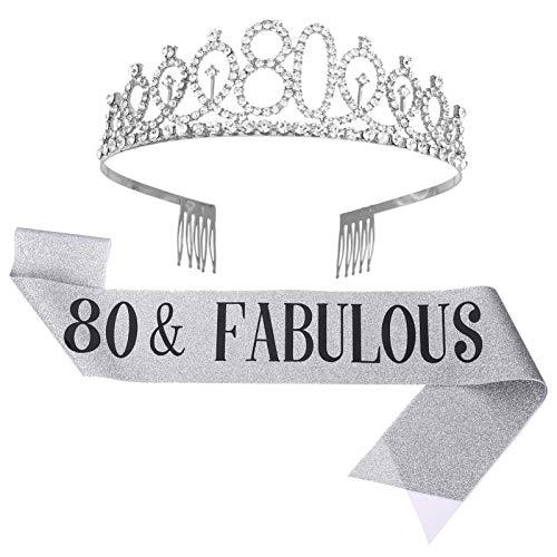 DragonflyDreams '80 y fabuloso juego de tiara y diamantes de imitación, regalos de 80 cumpleaños, banda de cumpleaños para mujeres,...