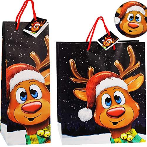 alles-meine.de GmbH Lange - 3D Effekt - Glitzer - Flaschen - Geschenktasche / Geschenkbeutel - Weihnachten - süßes Rentier _ für Flasche - 36 cm ! - Groß _ Weihnachtstüten - Gesc..