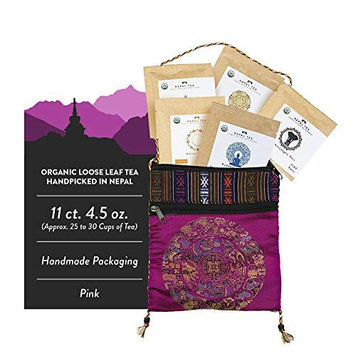 Loose Leaf Tea Sampler Set Travel Pouch, Loose Leaf Tea Set, Nepali Tea Leaves Gift Set, Loose Tea Sampler Tea Kit from the Himalayas, 11ct. 4.5 oz. (Approx. 25 to 30 Cups of Tea) Pink - Nepal Tea